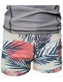 Short de bain anti UV écoresponsable motif palmier de face avec teeshirt
