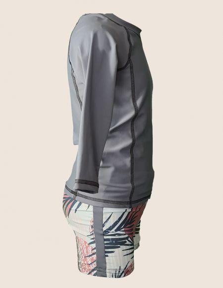 T-shirt anti UV garçon ecoresponsable, gris uni de coté