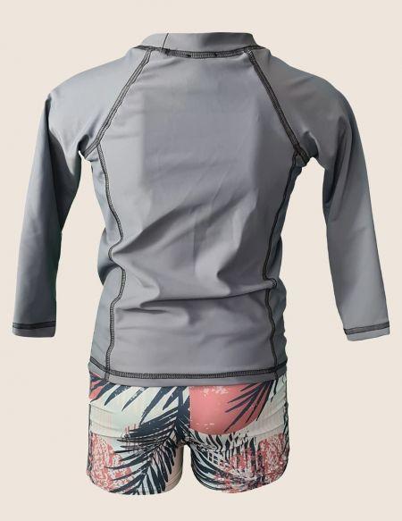 T-shirt anti UV garçon ecoresponsable, gris uni de dos