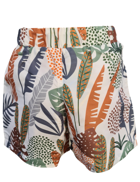 Short de bain enfant motif jungle, anti UV, écoresponsable, de dos