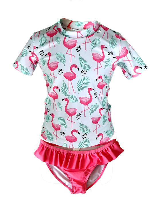 Ensemble plage anti UV UPF50+  Californie flamant, doux soleil, maillot de bain manches courtes pour fille