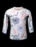 T-shirt de bain manches longues anti UV ecoresponsable, motif fleuri face