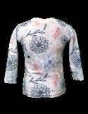 T-shirt de bain manches longues anti UV fille ecoresponsable, motif fleuri dos
