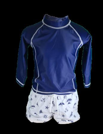 Ensemble plage manches longues anti UV UPF50+ pour garçon, couleur bleu marine Bretagne,  short et teeshirt de bain