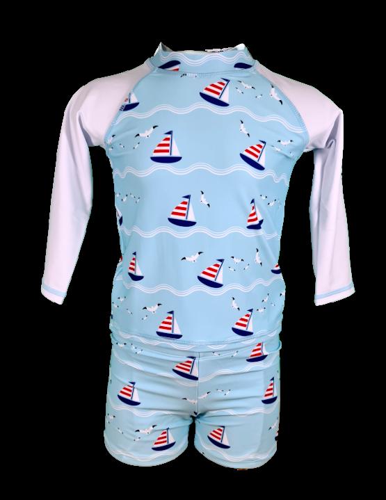 Ensemble plage manches longues anti UV UPF50+ Garçon Bretagne bateau, doux soleil, maillot de bain, petit bateau