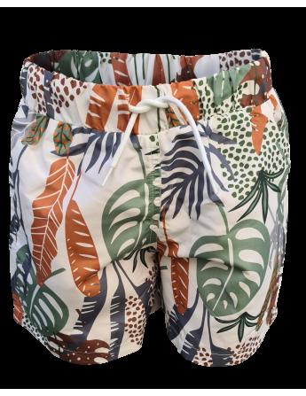 Short de bain enfant motif jungle, anti UV, écoresponsable