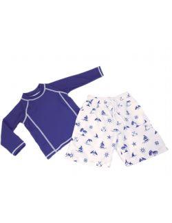 Ensemble  anti-UV UPF50+ Garçon bleu marine Bretagne, doux soleil, maillot de bain