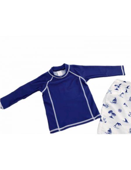 Ensemble plage anti UV UPF50+ Garçon bleu marine Bretagne, doux soleil, maillot de bain, teeshirt